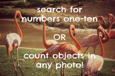 Search for numbers one-ten, or count objects in any photo!